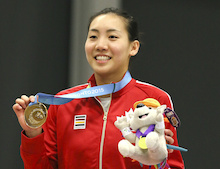 Michelle Li of Markham, Ont. celebrates her gold medal in badminton finals play at the PanAmerican Games in Markham, Ont., Thursday, July 16, 2015. Photo by Mike Ridewood/COC